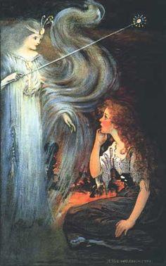 Cinderela. 1916. Ilustração. Jessie Willcox Smith (Filadélfia, PA, USA, 06/09/1863 – 03/05/1935). Imagem ilustrou o Calendário Premium da Swift 1916.