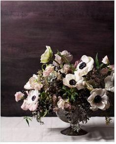 Ivory and Ink – A Moody and Dramatic Industrial Wedding Palette Deco Floral, Arte Floral, Floral Design, Wedding Table Centerpieces, Floral Centerpieces, Wedding Decorations, Winter Floral Arrangements, Centrepieces, Flower Arrangement