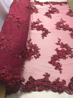 Shop Lace Fabric Burgundy Floral-Flower Design Embroider With Diamonds And Hand Beaded With On A Mesh Lace-Dresses-Bridal Accessories-Nightgown By Yard – 2019 - Lace Diy
