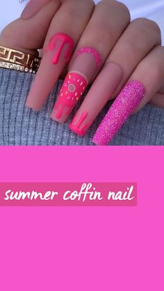 Summer Acrylic Nails, Best Acrylic Nails, Summer Nails, Spring Nails, May Nails, Dope Nails, Nail Art Cute, Exotic Nails, Coffin Shape Nails