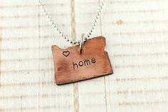 Home is where the heart is, home necklace, Oregon, hand stamped copper on Etsy, $29.00
