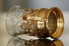 "SET OF VINTAGE TEA GLASS HOLDERS ""PODSKANNIK"" 6pcs, original cut glass, marked. Made in Russia in 1960s, 80 EUR Glass Holders, Antiques For Sale, Vintage Tea, Cut Glass, 1960s, Russia, Bangles, The Originals, Jewelry"