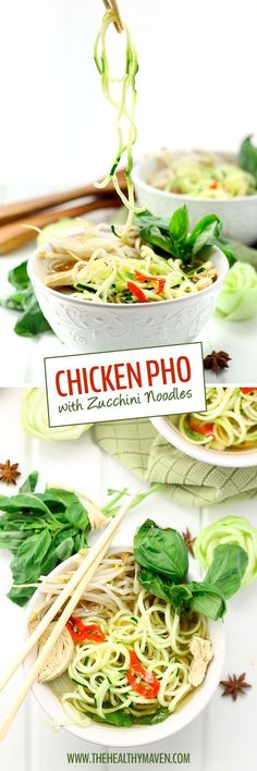 Healthy Chicken Pho with Zucchini Noodles - Healthified with zucchini noodles and packed-full of veggies.
