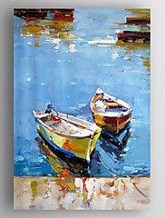 olieverf abstract landschap boten de hand beschilderd doek met gestrekte frame klaar om op te hangen