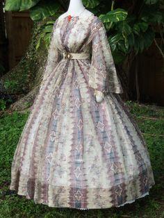Maternity dress of printed organdy c.1860