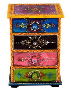 Painted Wooden Boxes, Funky Painted Furniture, Painted Drawers, Painted Chairs, Recycled Furniture, Colorful Furniture, Paint Furniture, Furniture Makeover, Furniture Decor