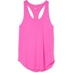 PINK Essential Racerback Tank ($9.99) ❤ liked on Polyvore featuring tops, tank tops, shirts, tanks, black, victoria secret pink shirts, slouchy shirts, racerback tank top, layering tanks and racer back tank tops
