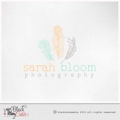 Photography logo  - feathers -  Eps file and watermark included - Custom Premade affordable
