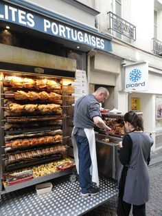Rotisserie Chicken , France - saw these all over Paris, they sometimes put potatoes on the bottom shelf and the juices run down on them - delicious! Chicken Shop, Roast Chicken, Rotisserie Chicken, Outdoor Restaurant, Rustic Restaurant, Restaurant Design, Food Truck, Gourmet Recipes, Cooking Recipes