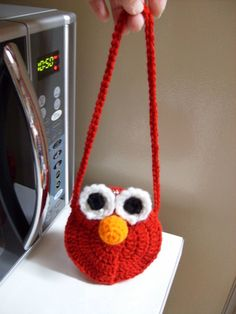 Cookie Monster Purse Crochet Pattern (changes for Elmo below) Materials: 1 oz. blue worsted weight yarn Small amounts blac...