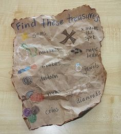 "Brown paper bag treasure map:"" hunt and find outside"
