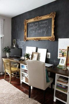 Decoration, Cheap Basement Home Office Walls Remodeling By Paint One Of The Basement Walls With Chalkboard Paint Ideas ~ Beautiful Cheap Basement Remodeling Ideas for Livable Room Home Office Space, Home Office Design, Desk Space, Office Spaces, Office Nook, Desk Areas, Interior Office, Desk Office, Office Designs