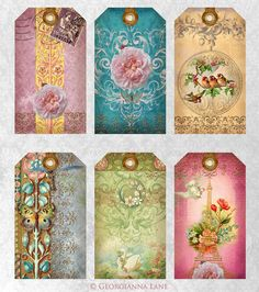 I love these borders many printables on digital collage sheets free printable vintage gift tags perfect for bridal shower gifts negle Gallery