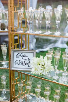 Morgan Stewart's champagne tower: http://www.stylemepretty.com/2016/06/20/steal-the-look-morgan-stewarts-glam-all-white-wedding/
