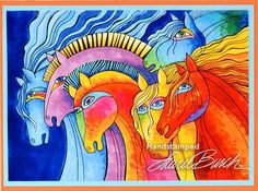 Laurel Burch Wild Horses Cling Rubber Stamp by Stampendous Laurel Burch, Horse Cards, Horse Rugs, Tree Quilt, Animal Cards, Wild Horses, Art Plastique, Artist At Work, Pet Portraits