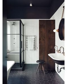 Montreal Bathroom with black and white Ceragres tiles --- via @homeadore_decor