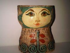 A vintage paper mâché lady head vase by Gemma Taccogna.