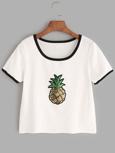 Shop White Contrast Trim Sequin Detail T-shirt online. SheIn offers White Contrast Trim Sequin Detail T-shirt & more to fit your fashionable needs.