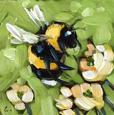 """Bumblebee painting, Tiny original impressionistic oil painting of a whimsical Bumblebee,  2x2"""" on panel, bee art, bees. by LaveryART on Etsy"""
