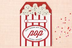 Popcorn! Classroom Valentine's Cards by Oma N. Ramkhelawan at minted.com
