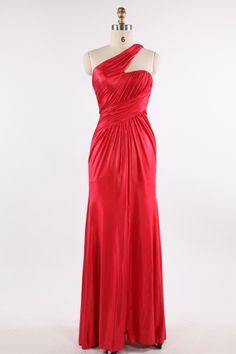 Red One Shoulder Sheath/Column Satin Evening Dress JSLD0121