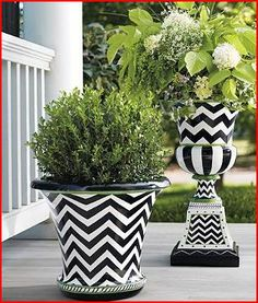 All the allure of #glazed #ceramic, check out gardenroad.com's  black-and-white, with pops of lime-green #container is made of lightweight fiberglass so they will never shatter. Each is #handcrafted and finished with a chip- and peel-resistant coat - perfect for #outdoor.