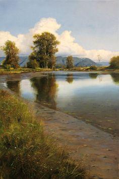 """Renato Muccillo Receding Pool 24"""" x 16"""" Oil on canvas"""