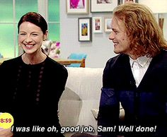 "outlander-starz: "" SamCait on Lorraine "" I'm telling you. The way he looks at her in the second gif could melt the polar ice caps. With that whole lip-licking situation? Yep. They're REALLY good..."