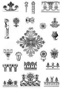 Ancient Egypt ornament, from Ornaments, Styles, Motives by NS Voronchihin, NA Emshanova, Udmurtia University publisher, http://www.bibliotekar.ru/ornamenty/index.htm