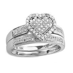 Round-cut white diamond heart shape bridal ring set10-karat white gold jewelryClick here for ring sizing guide