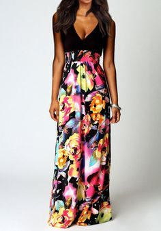 Black-Yellow Flowers Plunge Sleeveless Maxi Dress