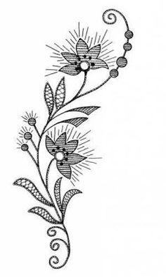AMARNA IMAGENS: RISCOS PARA BORDADOS E OUTROS TRABALHOS MANUAIS Leather Embroidery, Folk Embroidery, Vintage Embroidery, Border Embroidery Designs, Embroidery Transfers, Embroidery Patterns, Silhouette Clip Art, Flower Sketches, Cover Up Tattoos