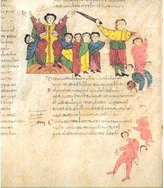 Folio 40r: Victoria de Josué sobre Amalec y los suyos