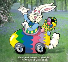 Egg-Mobile DIY Woodcraft Pattern - The Egg-mobile. Our happy hare shares springtime joy with all who pass by. Easy-to-trace, paint and assemble. x Pattern by Sherwood Creations Happy Easter, Easter Bunny, Easter Eggs, Easter Art, Easter Decor, Diy Ostern, Woodworking Patterns, Kids Wood, Easter Crafts