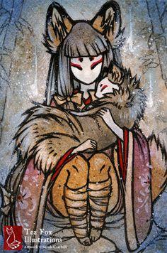 Una niña kitsune enmascarada una de sus compañeras de fox sostiene en sus brazos, ambos rodeados de luminosidad. - - - - - - - - - - - - - -