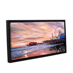 ArtWall Marcus/Martina Bleichner's Santa Monica Pier at Dusk, Gallery Wrapped Floater-framed