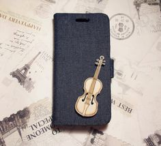 Diy Handmade Cloth Art Flip Cover Case W2. Wooden Guitar with Denim for Apple iPhone5 iPhone 5s 4s 4 Sony Xperia Z1 Z SP LG optimus 4x hd