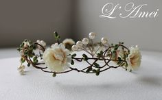 wedding flower crown, whimsical wedding tiara, bridal floral circlet, wedding crown headpiece, Wild flowers pearl  hair halo