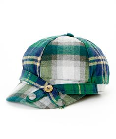 Green Plaid Button Wool Cadet Cap #hat #womens