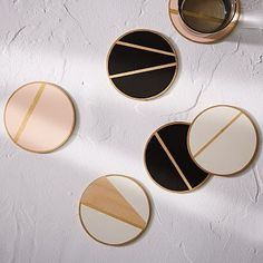 The Vintage Vogue Linea Coasters, White + Gold At West Elm - Drink Coasters