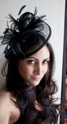 """Black Fascinator - """"Penny"""" Mesh Hat Fascinator with Mesh Ribbons and Black Feathers. $54.00, via Etsy."""