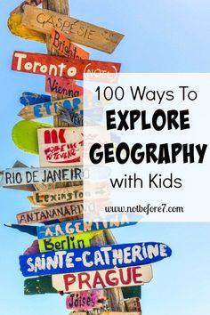 Check out this list of 100 ways to explore Geography with your kids. You'll find arts, music, crafts, books, and more! Homeschooling Geography has never been so much fun! Geography Games For Kids, World Geography Games, Geography Activities, Physical Geography, Teaching Geography, Teaching History, Teaching Kids, History Education, Learning Activities