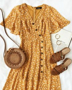The After-Bloom Delight Golden Yellow Floral Print Midi Dress was made for mid-day strolls! Short sleeve, surplice bodice tops this floral midi dress. Casual Dresses, Casual Outfits, Summer Outfits, Cute Outfits, Fashion Outfits, Summer Dresses, Womens Fashion, Dress Fashion, Fashion 2018