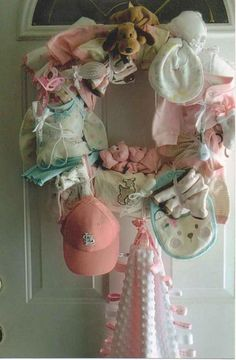 Baby Shower Wreath Idea  (would be awsome to put on hospital door!!!)