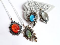 Simple hand-painted necklaces.
