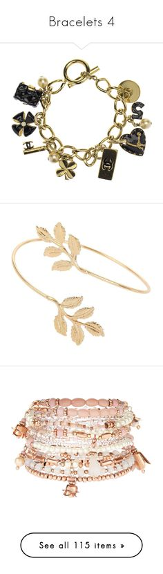 """""""Bracelets 4"""" by musicmelody1 on Polyvore featuring jewelry, bracelets, accessories, pulseiras, chain charm bracelet, gold charms, four leaf clover charm, gold bracelet charms, yellow gold charm bracelet and miss selfridge"""