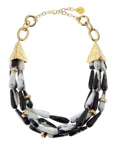 Snow Leopard Agate Necklace by Devon Leigh at Neiman Marcus Last Call.