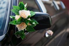Simple floral wedding car decor