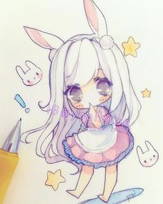 Sometimes I feel weird like if I manage to draw something that I'm really happy with, later I'll try to draw something else but it doesn't come out as good so I panic and continue to draw but it still doesn't look right so I panic further TwT #sakurakoi #watercolor #watercolour #sketch #chibi #kawaii #cute #moe #oc