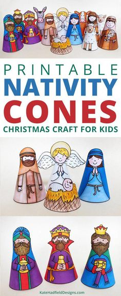 'My Nativity' printable nativity cone character craft - just print, cut out and stick to create your own nativity scene! A fun Christian craft for the kids this Christmas! #crafts Christian Christmas Crafts, Christmas Crafts To Make, Christian Crafts, 3d Christmas, Preschool Christmas, Christmas Activities, Christmas Printables, Simple Christmas, Holiday Crafts